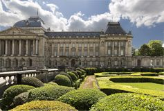 Views of the royal palace with its gardens in the capital of Belgium. Stock Images