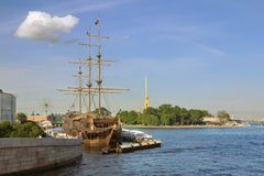 Views of the  sailboat in St. Petersburg Royalty Free Stock Photo