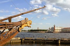 Views of the  sailboat in St. Petersburg Stock Photos