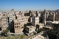 Views of Sanaa, Yemen. Sanaa is the capital of Yemen. The old city of Sanaa has a distinctive visual character due its unique architectural characteristics Stock Photo
