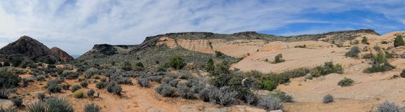 Views of sandstone and lava rock mountains and desert plants around the Red Cliffs National Conservation Area on the Yellow Knolls. Sweeping Views of sandstone Royalty Free Stock Image