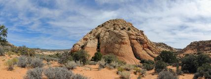 Views of sandstone and lava rock mountains and desert plants around the Red Cliffs National Conservation Area on the Yellow Knolls. Sweeping Views of sandstone Stock Images