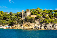 Views of the Sant Joan castle in Lloret de Mar. Spain Royalty Free Stock Photo