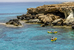Views of the sea and cliffs of Cape Greco . Cyprus. Royalty Free Stock Photos