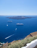 Views from the shores of islands of Santorini Royalty Free Stock Photos