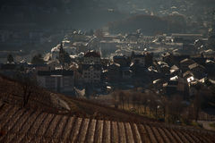 Views of Sierre and the Alps from Crans-Montana, Switzerland.  royalty free stock photo