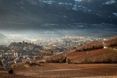 Views of Sierre and the Alps from Crans-Montana, Switzerland.  royalty free stock photos