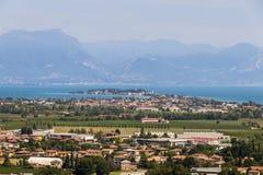 Sirmione and Lake Garda, Italy. Views of Sirmione and Lake Garda from the top of the tower in San Martino della Battaglia. Desenzano del Garda, Lombardy, Italy Royalty Free Stock Photography