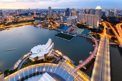 Views skyline business building and financial district at Singapore City.  Royalty Free Stock Images