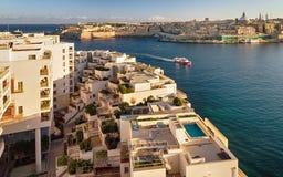 Views of Sliema and Valletta stock photos