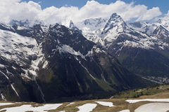 Views of snow-capped peaks from the cable car.Dombay. Royalty Free Stock Photography