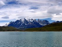 Views of snow peaks - Torres del Paine National Park, southern Patagonia, Chile.  stock photography