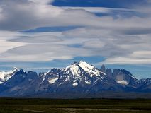 Views of snow peaks - Torres del Paine National Park, southern Patagonia, Chile.  stock photo