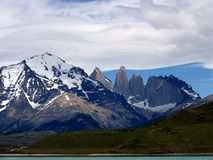 Views of snow peaks - Torres del Paine National Park, southern Patagonia, Chile.  royalty free stock photo