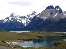 Views of snow peaks - Torres del Paine National Park, southern Patagonia, Chile.  stock image