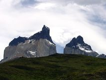 Views of snow peaks - Torres del Paine National Park, southern Patagonia, Chile.  stock photos
