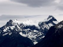 Views of snow peaks - Torres del Paine National Park, southern Patagonia, Chile.  royalty free stock photography
