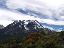 Views of snow peaks - Torres del Paine National Park, southern Patagonia, Chile.  royalty free stock image