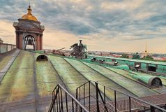 Views of St. Petersburg and the Admiralty from the roof of St Isaac`s Cathedral. Russia Stock Photos