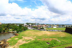 Views of the stadium and the bus station with Galle Fort Royalty Free Stock Photography