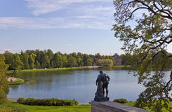 Views of the statue of Hercules and a Large pond from the Cameron gallery in the landscape Park.Tsarskoye Selo. Stock Photography