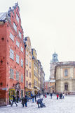 Views of Stortorget Square during a snowstorm . Stockholm, Swede royalty free stock image