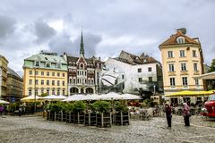 Views of streets and squares in the historic centre of Riga in L Royalty Free Stock Photography