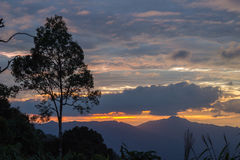 Views during sunset from Phanoen Thung Camp,Kaeng Krachan National Park,Phetchaburi Province,Thailand. Royalty Free Stock Image