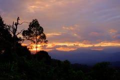 Views during sunset from Phanoen Thung Camp,Kaeng Krachan National Park,Phetchaburi Province,Thailand. Royalty Free Stock Images