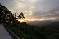 Views during sunset from Phanoen Thung Camp,Kaeng Krachan National Park,Phetchaburi Province,Thailand. Royalty Free Stock Photo