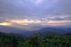 Views during sunset from Phanoen Thung Camp,Kaeng Krachan National Park,Phetchaburi Province,Thailand. Stock Photos