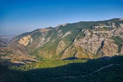Views from Tatev Cable Car ropeway in Armenia. View over Vorotan River Gorge from Tatev Cable Car ropeway in Armenia, longest aerial tramway in the world Royalty Free Stock Photo