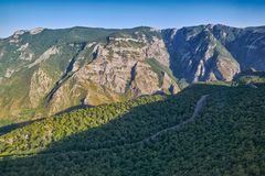Views from Tatev Cable Car ropeway in Armenia. View over Vorotan River Gorge from Tatev Cable Car ropeway in Armenia, longest aerial tramway in the world Royalty Free Stock Image