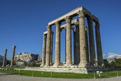 Temple of Olympian Zeus in Athens, Greece. Views of the Temple of Olympian Zeus in Athens, Greece Stock Photography