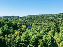 The views from Thomaston Dam and portions of the Naugatuck River Valley. Located on the scenic Naugatuck River in Thomaston Town Connecticut United States royalty free stock photography