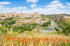 Views to historical toledo town, spain stock photography