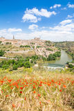 Views to historical toledo town, spain stock image