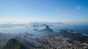 Views to the Rio harbor and Sugar Loaf Mountain from Corcovado in Rio de Janeiro, Brazil.  Stock Photography
