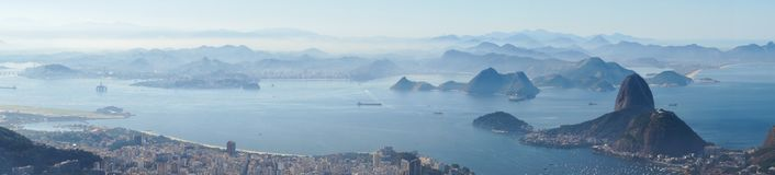 Views to the Rio harbor and Sugar Loaf Mountain from Corcovado in Rio de Janeiro, Brazil.  Royalty Free Stock Photography