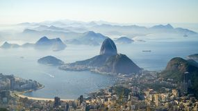 Views to the Rio harbor and Sugar Loaf Mountain from Corcovado in Rio de Janeiro, Brazil.  Royalty Free Stock Photo