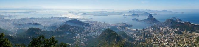 Views to the Rio harbor and Sugar Loaf Mountain from Corcovado in Rio de Janeiro, Brazil.  Stock Photo