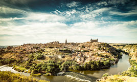 Views of Toledo. Panoramic view of the historic city of Toledo with river Tajo Royalty Free Stock Images
