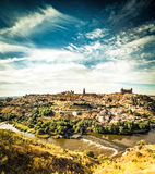 Views of Toledo. Panoramic view of the historic city of Toledo with river Tajo Stock Photo