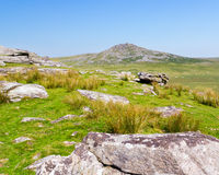 Views towards Rough Tor Bodmin Moor. Rugged scenery on Bodmin Moor Cornwall England with Rough Tor in the distance Stock Photography