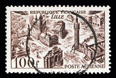 Views of the town - Lille, Air Post serie, circa 1949. MOSCOW, RUSSIA - MAY 10, 2018: A stamp printed in France shows Views of the town - Lille, Air Post serie royalty free stock image