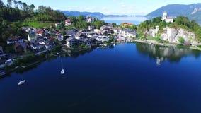 Views of Traunkirchen, Traunsee, in Salzkammergut, Upper Austria. Aerial Views of Traunkirchen, Traunsee, in Salzkammergut, Upper Austria stock footage