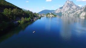 Views of Traunkirchen, Traunsee, in Salzkammergut, Upper Austria. Aerial Views of Traunkirchen, Traunsee, in Salzkammergut, Upper Austria stock video footage