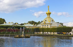 Views of  Upper Park Peterhof. Fountain of Venus and dolphins. Stock Images