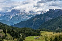 Views of the Val di Fassa in the Dolomites, Trentino Alto Adige, Italy. Views of the Val di Fassa, Trento, Trentino Alto Adige, Italian Alps royalty free stock images