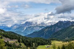 Views of the Val di Fassa in the Dolomites, Trentino Alto Adige, Italy. Views of the Val di Fassa, Trento, Trentino Alto Adige, Italian Alps royalty free stock photography